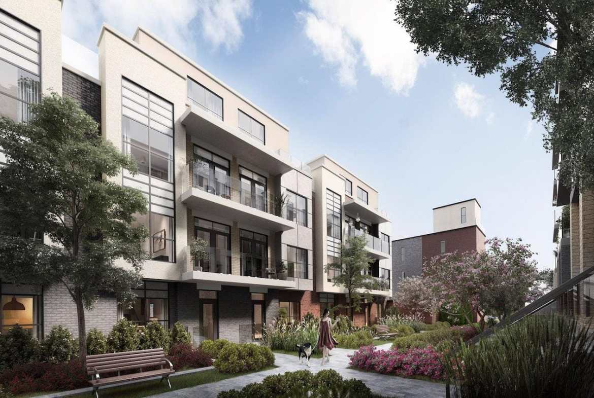 Exterior courtyard rendering of Clanton Park Towns.