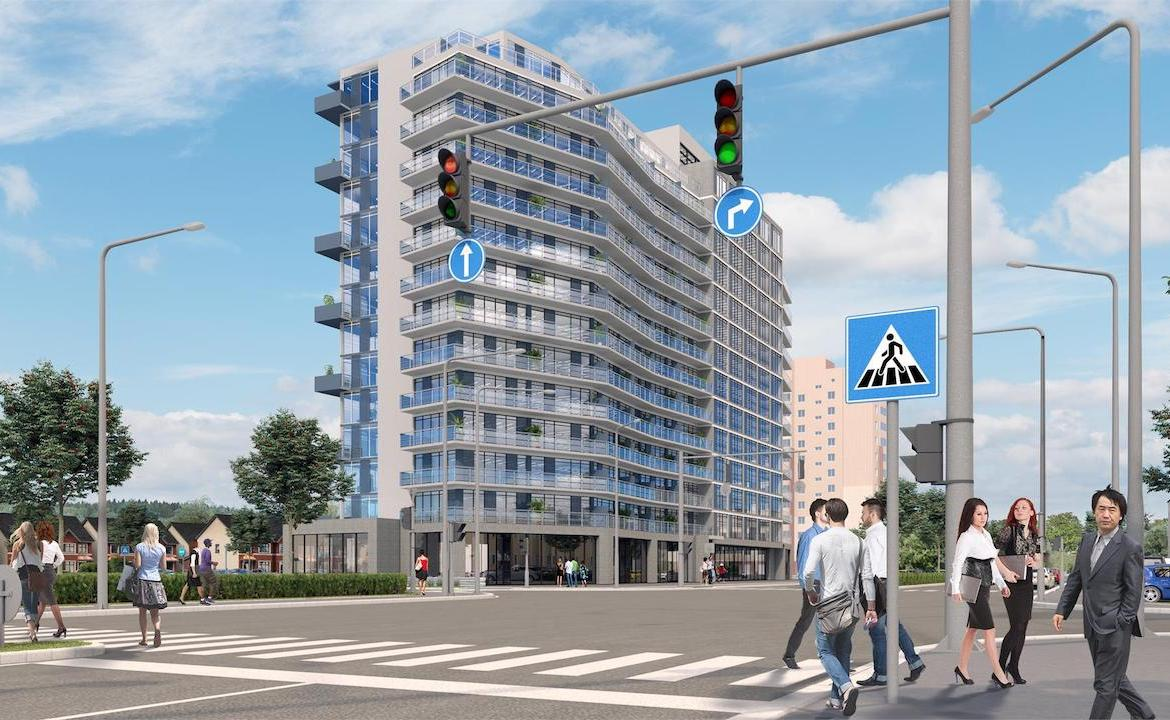 Exterior rendering of LJM Tower Condos from nearest intersection.