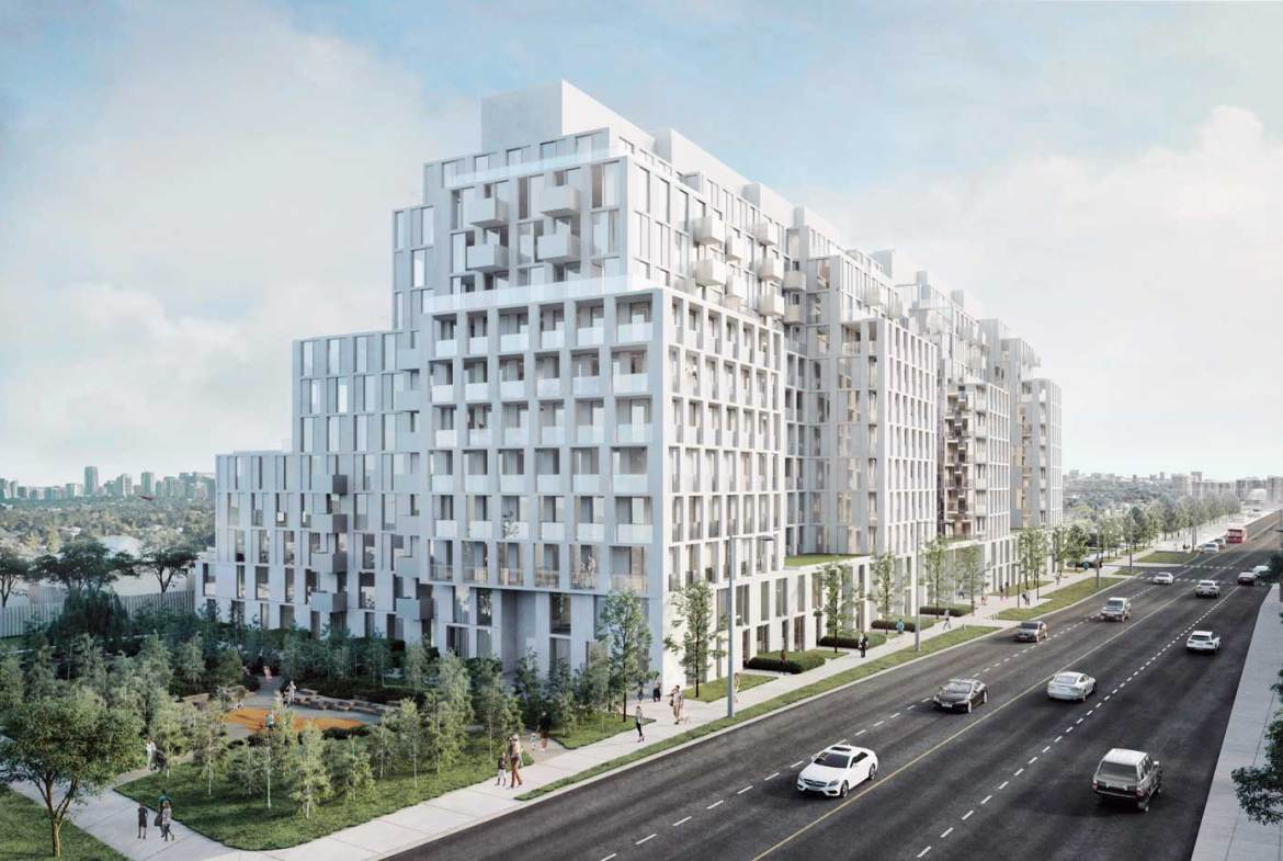 Exterior rendering of Nordic Condos during the day.