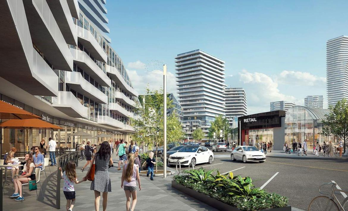 Exterior rendering of Promenade Park Towers shopping area.