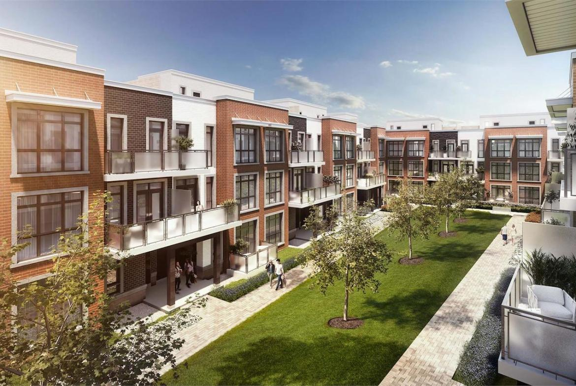 Exterior rendering of The Bond towns courtyard.