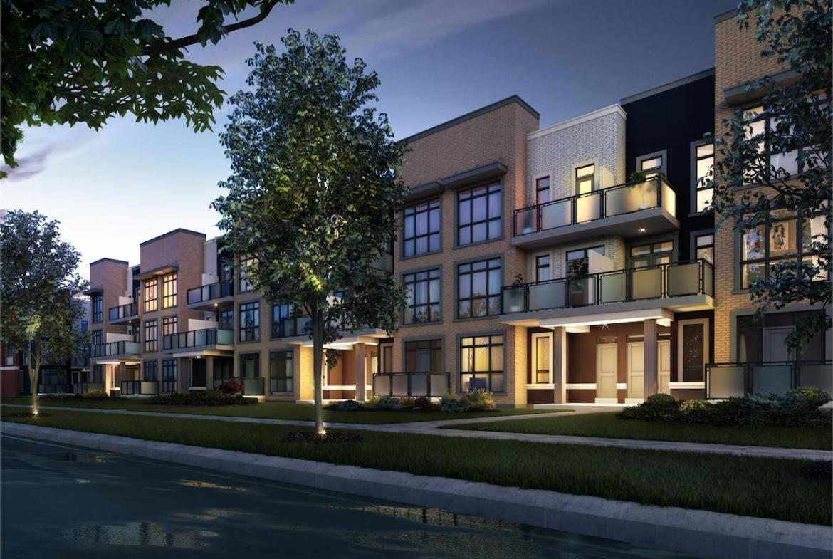 Exterior rendering of The Bond towns street-facing view at night.