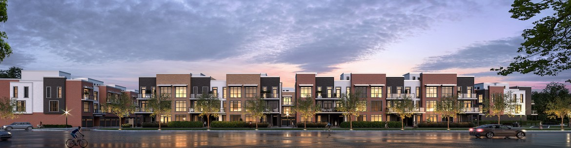 Exterior rendering of The Bond towns front view at dusk.