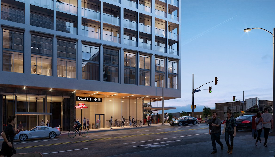 Podium exterior rendering of The Forest Hill Condos.