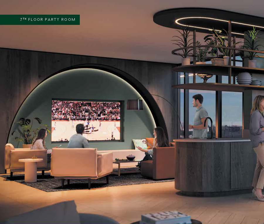 Interior rendering of The Thornhill Condos 7th floor party room.