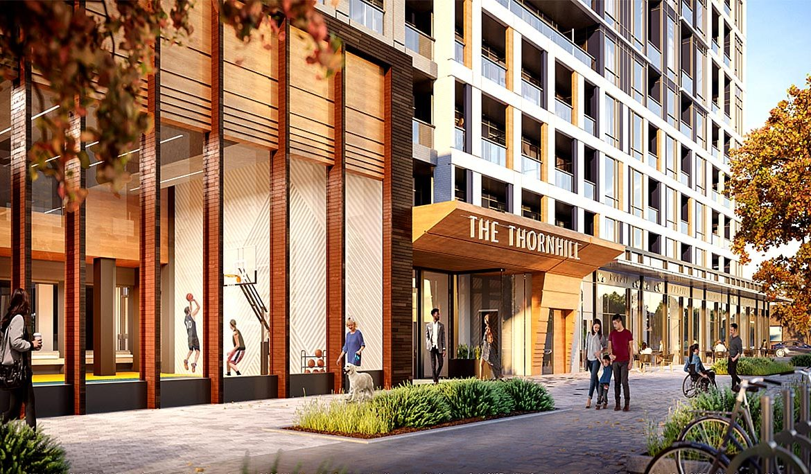 Exterior rendering of The Thornhill Condos entrance at street-level.