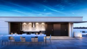Exterior rendering of 469 Spadina Homes rooftop dining.