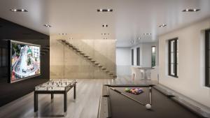 Rendering of 469 Spadina Homes interior games room.