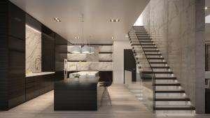 Rendering of 469 Spadina Homes interior kitchen and staircase.