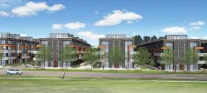 Exterior rendering of 75 Curlew Urban Towns across the street.