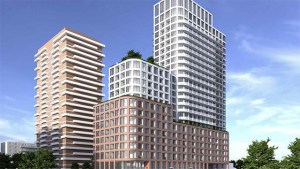 Exterior rendering of 78 Park Street East Condos during the day.
