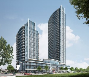 Exterior rendering of Perla Towers.