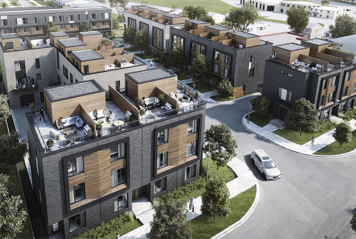 Exterior aerial rendering of Terraces at Eglinton Townhomes.