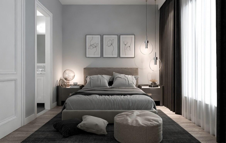 Rendering of Terraces at Eglinton interior master bedroom.
