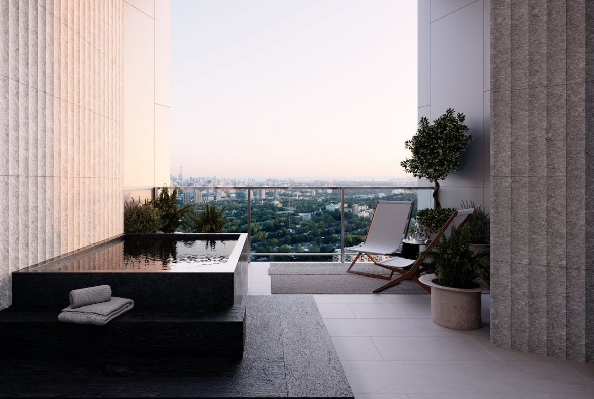 Rendering of One Delisle Penthouse exterior balcony winter garden with hot tub