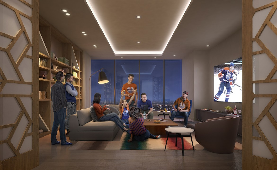 Rendering of SKY Residences at ICE District sports lounge.
