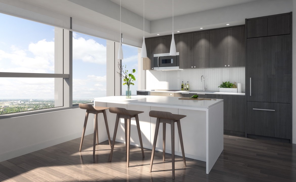 Rendering of SKY Residences unit interior kitchen.