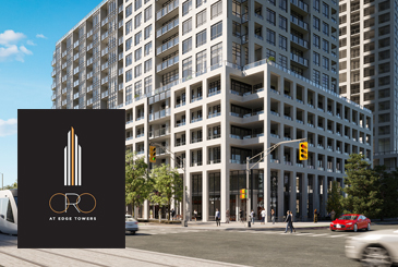 Rendering of ORO at Edge Towers with logo overlay.