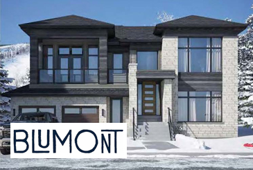 Rendering of Blumont Detached Homes with logo overlay.