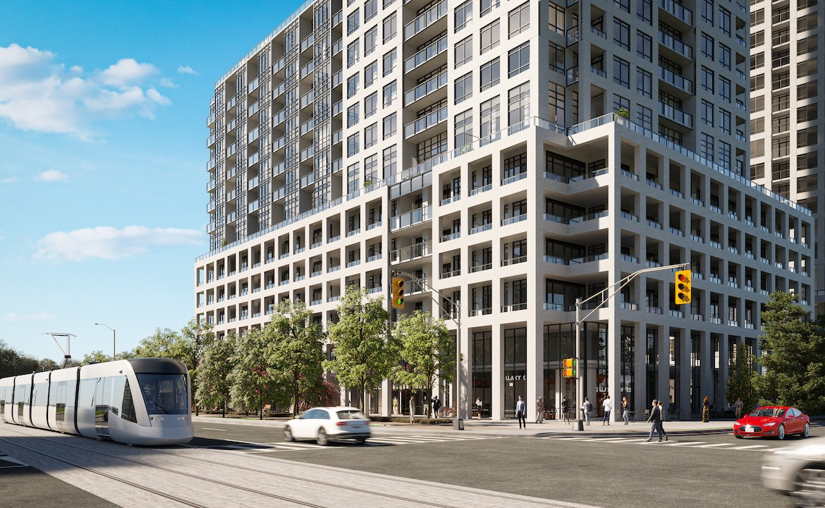 Exterior rendering of ORO at Edge Towers Mississauga with building base and streetscape.