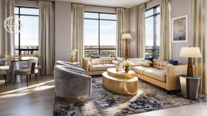 Rendering of ORO Condos penthouse moonstone living room
