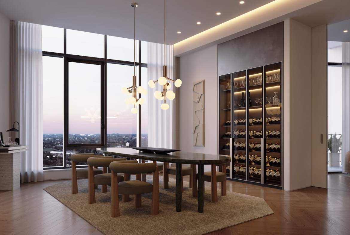 Rendering of One Delisle Penthouse interior dining room