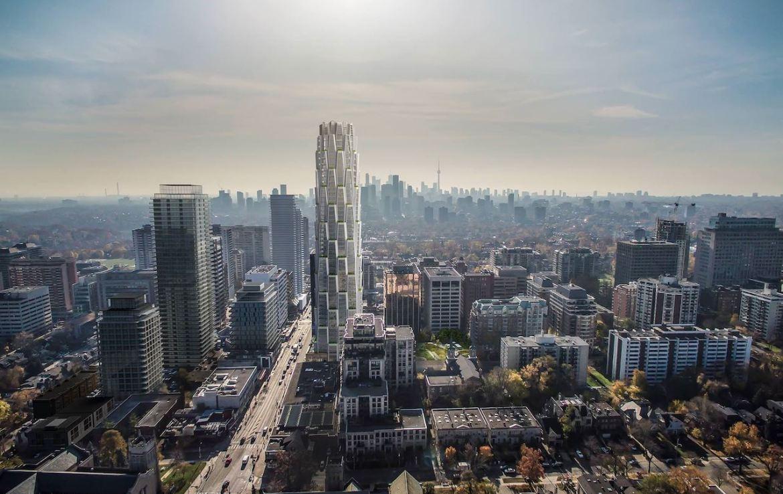 Aerial rendering of One Delisle Condos Toronto.