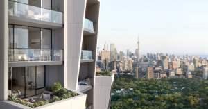 Rendering of One Delisle Condos balcony views of Toronto