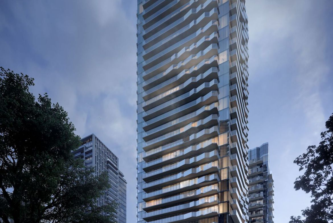 Rendering of Untitled Condos full building exterior at dusk.