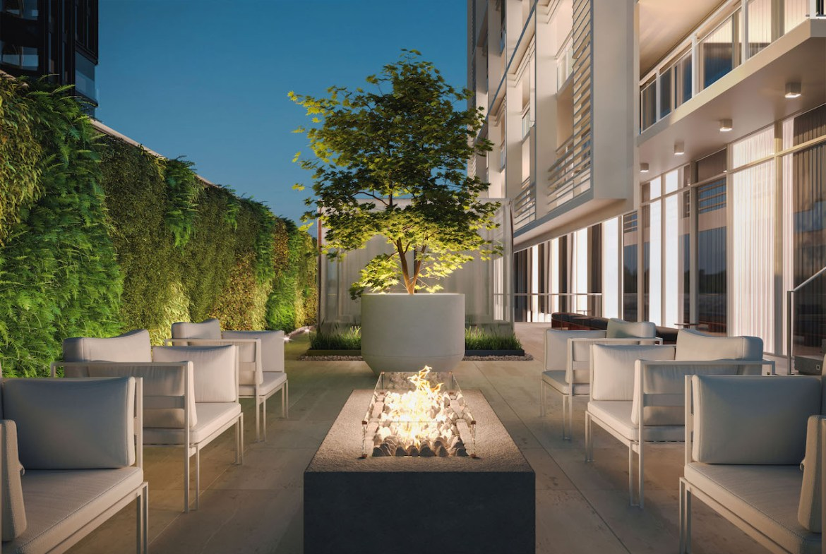 Rendering of 88 Queen Condos fireplace seating area.