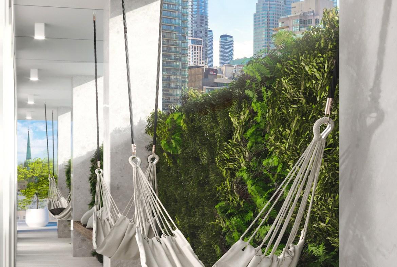 Rendering of 88 Queen Condos outdoor hammocks.