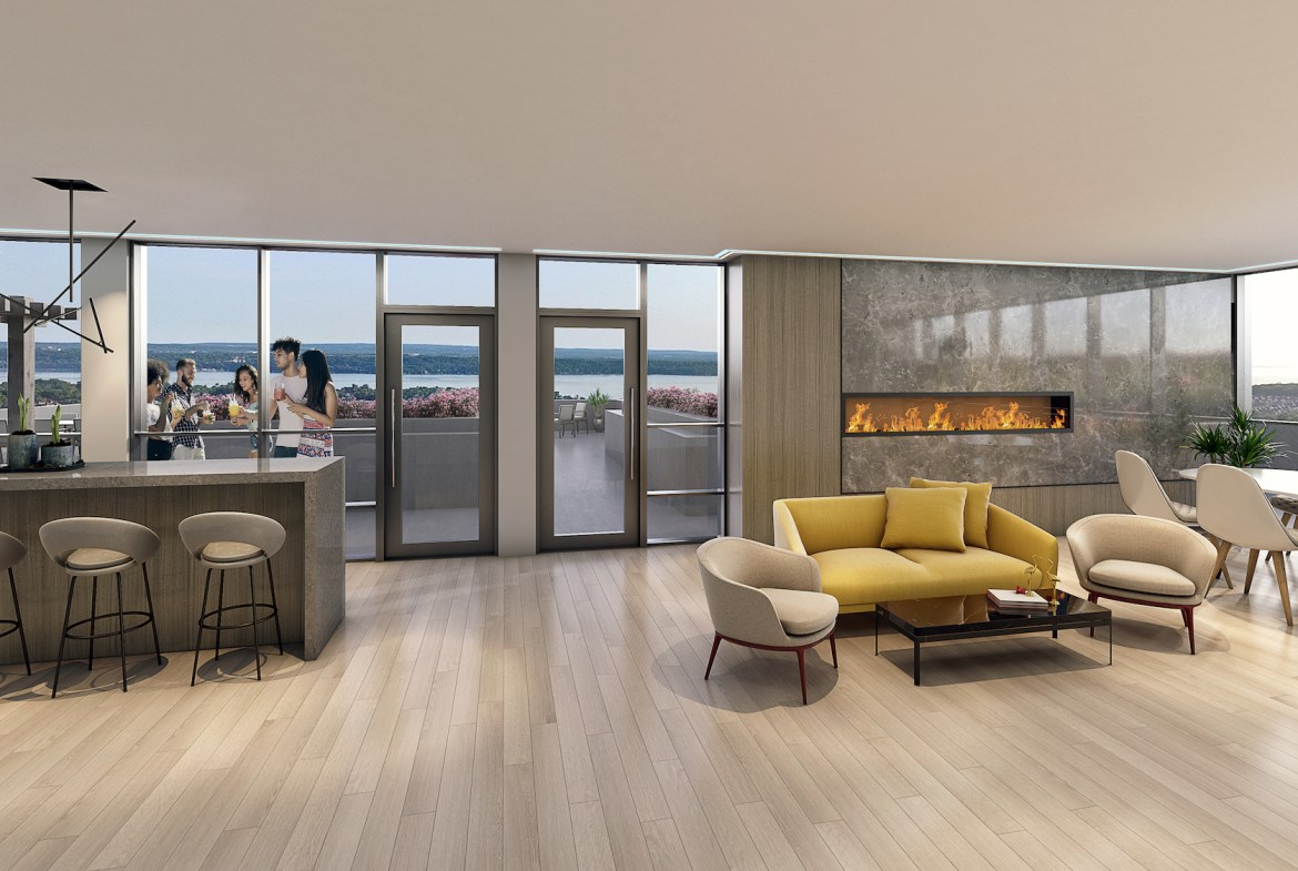 Rendering of South District Condo party room with fireplace.