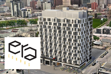 Rendering of Era Condos exterior with logo overlay.