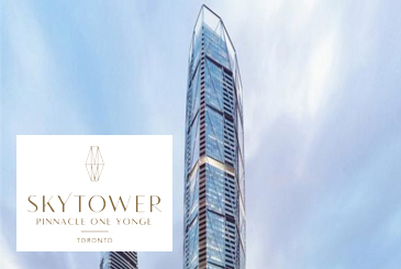 Rendering of SkyTower at Pinnacle One Yonge with logo overlay.