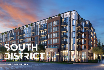 Rendering of South District Condo exterior with logo overlay.