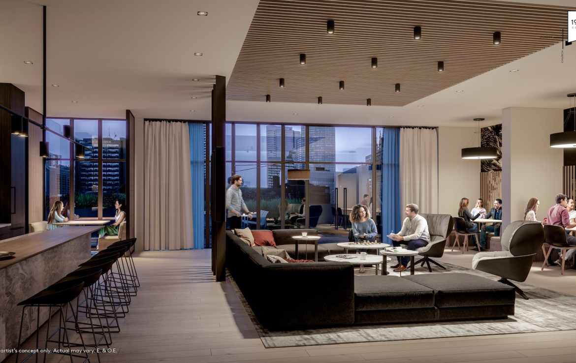 Rendering of 199 Church Condos shared co-working space.