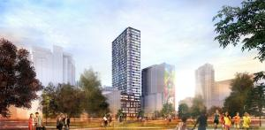 Exterior rendering of 308 Jarvis Condos and surrounding park area.