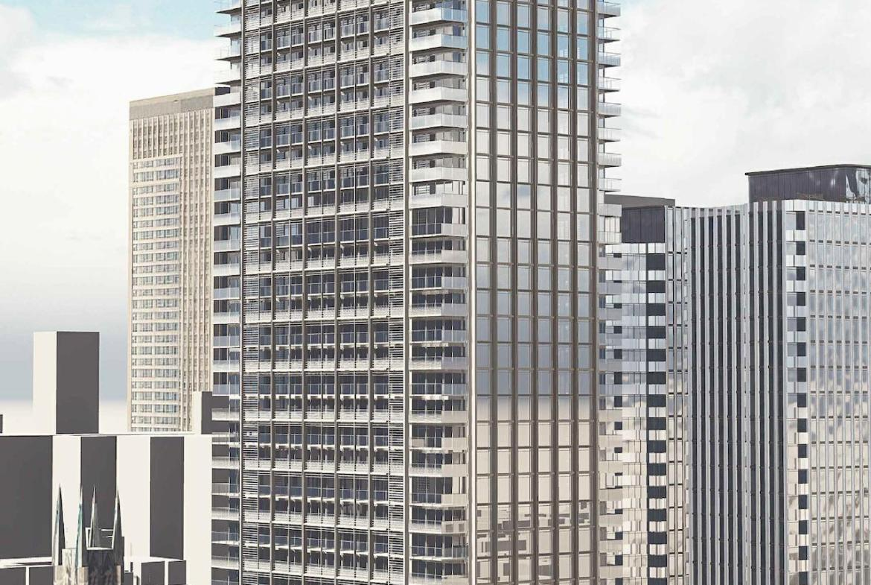 Full exterior rendering of 88 Queen Condos Toronto.
