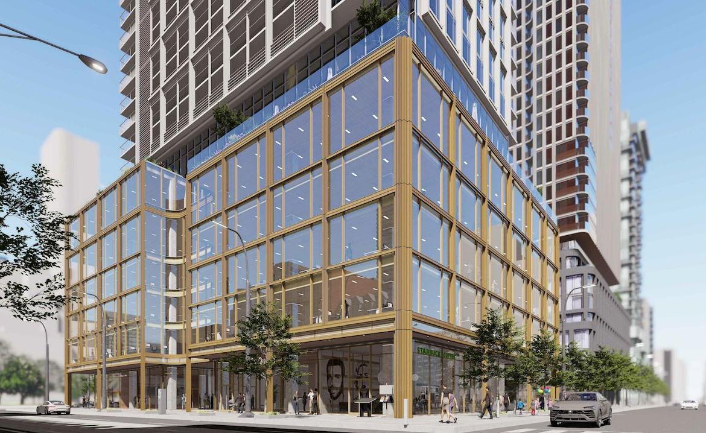 Exterior rendering of 88 Queen Condos building corner at street-level.
