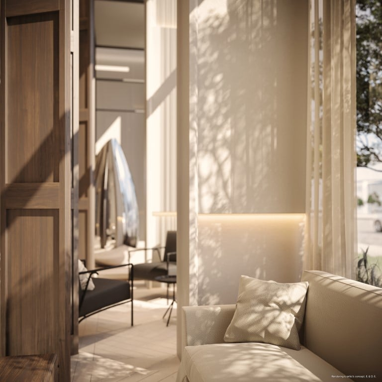 Rendering of Canary House Condos lobby seating