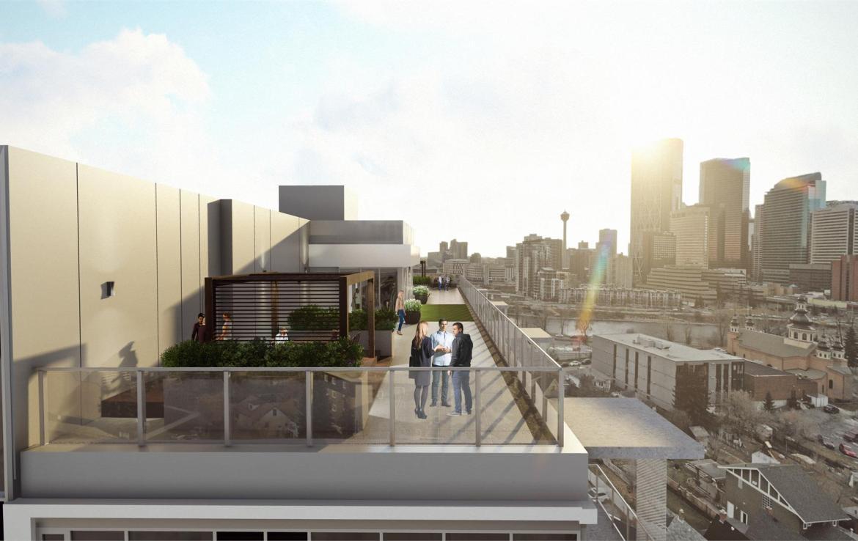 Rendering of Era Condos rooftop terrace.