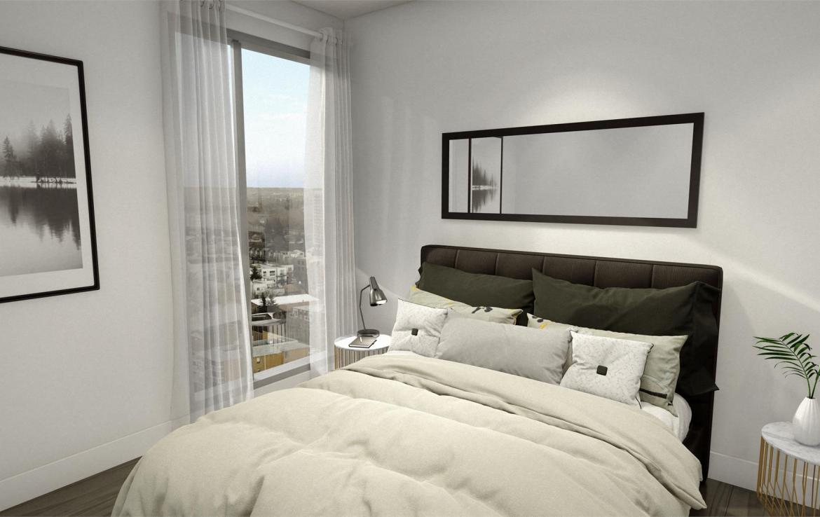 Rendering of Era Condos suite interior bedroom.