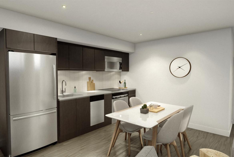 Rendering of Era Condos suite interior kitchen.