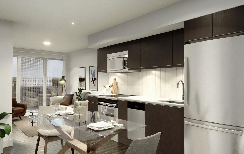 Rendering of Era Condos suite interior kitchen and living room area.