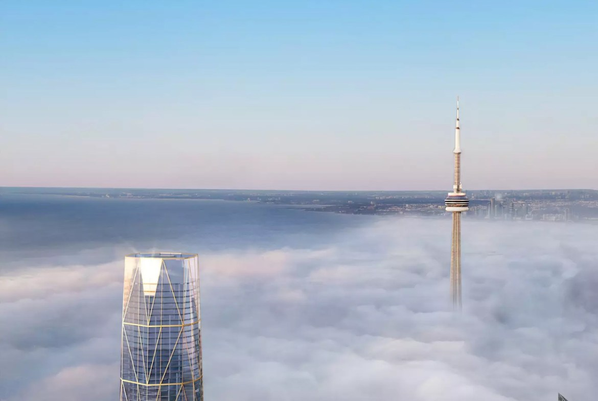 Rendering of Sky Tower Condo in the clouds with the CN Tower.