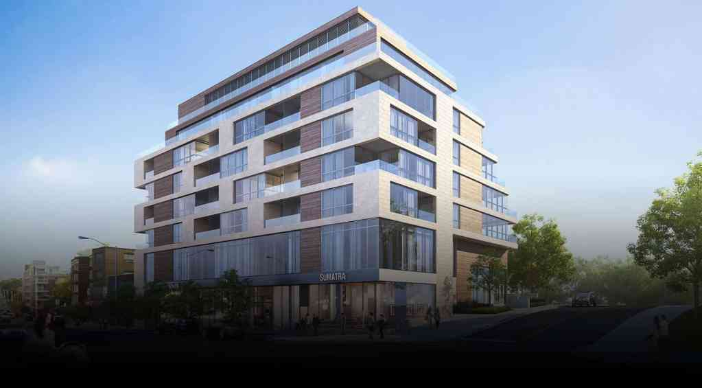 Rendering of The Howard High Park exterior during the day.