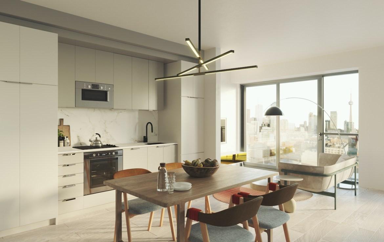 Rendering of Artistry Condos suite interior open-concept.