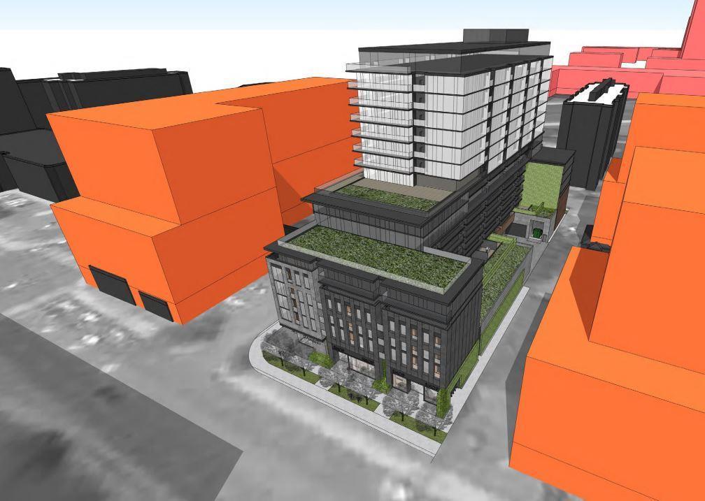 Aerial rendering of 85 Dundas Street West Condos.