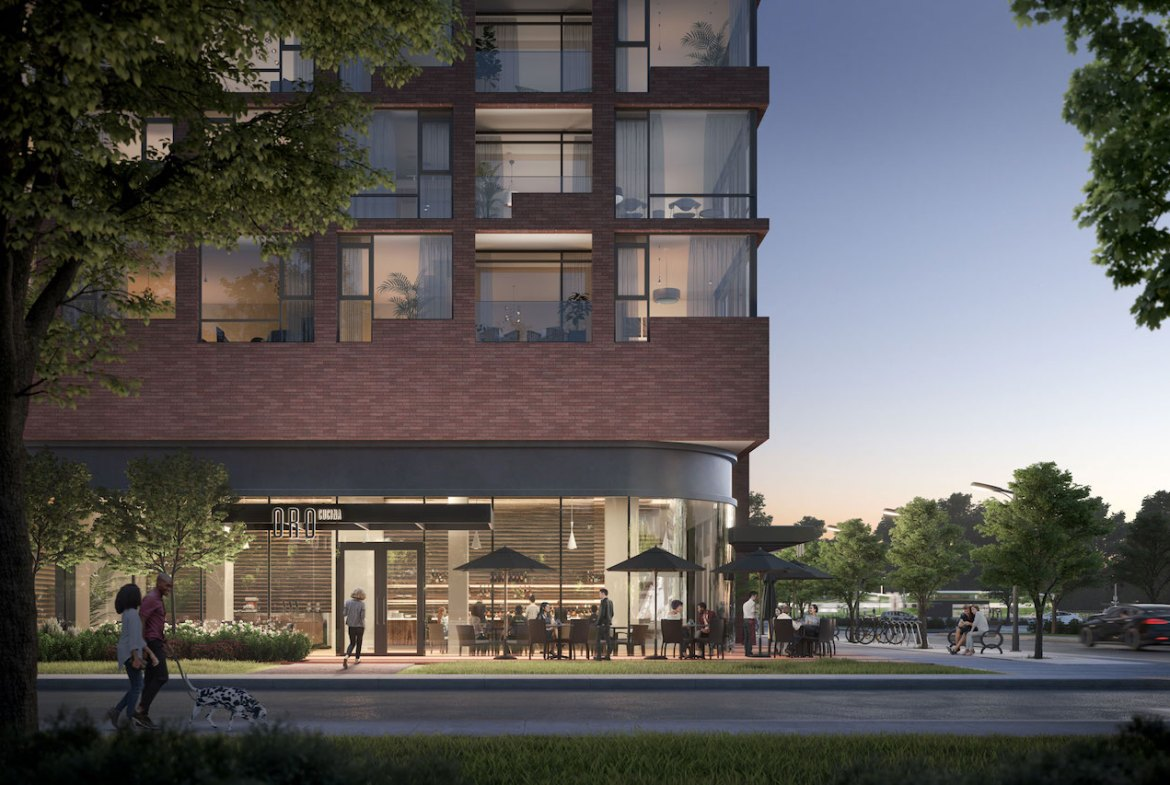 Rendering of Westport Condos streetscape at night.