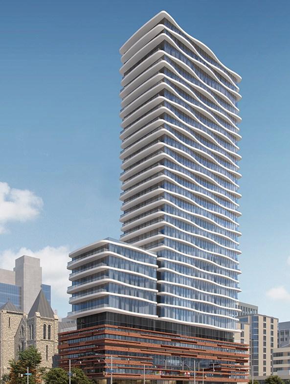 Full exterior rendering of Artistry Condos in Toronto.